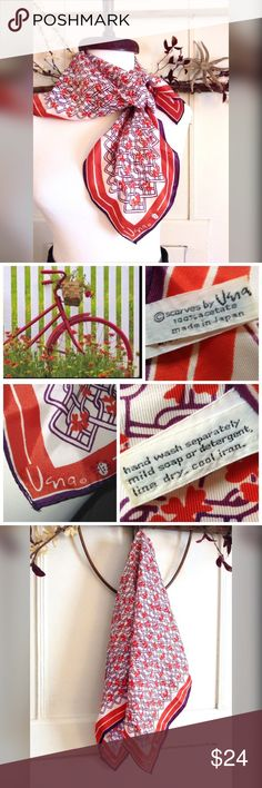 🆕🎥Vera Scarf Red, white, blue Vera vintage scarf with lady bug signature. See image for tag with material info! Vintage Accessories Scarves & Wraps