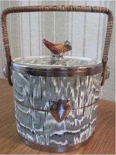 Faux Bois English Transfer Ware Ice Bucket