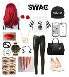 """swag like me"" by diannaswagger ❤ liked on Polyvore featuring Monki, Yves Saint Laurent, Gianvito Rossi, MICHAEL Michael Kors, Brian Lichtenberg, LifeProof, Eternally Haute, Giani Bernini, LORAC and Gucci"