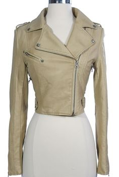 I found 'Bridget Vegan Leather Moto Jacket in Beige' on Wish, check it out!