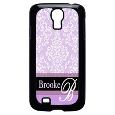PERSONALIZED SAMSUNG GALAXY S3 S4 MONOGRAMMED PURPLE DAMASK CASE #Samsung