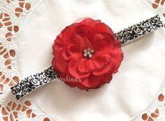 Big Red flower Baby Headband by MylittleshopFinds on Etsy