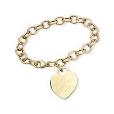 14kt Yellow Gold Oval Link Bracelet With Heart Charm