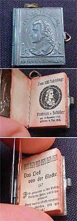 """Vintage Friedrich von Schiller """"Zum 100 Todestage"""" Mini Book Charm, 1905 • http://www.ebay.com/itm/170774103028?ssPageName=STRK:MEWAX:IT&_trksid=p3984.m1438.l2649#ht_500wt_1180"""