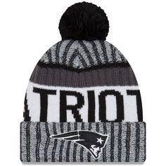 Men s New England Patriots New Era Black White 2017 Sideline Cold Weather  Sport Knit Hat b0b23ded3