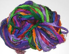 Recycled Sari Silk Ribbon Yarn multi 11 color 65 by JuliaLCraft, $11.00