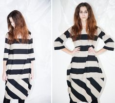 CUCÙ LAB Winter 2014 Dress LIZA  Shop it at http://www.cuculab.it/prodotto/542/LIZA.html  #woman #fashion #fallwinter #stripesmood #white #black #CucuLab