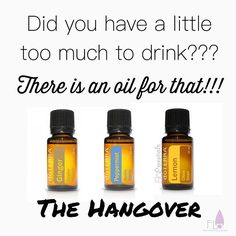 The Hangover Recipe - 3 drops of Ginger, 2 drops of Peppermint and 1 drop of Lemon in a hot (steaming) cup of water - 2 tbsp of honey and drink it (as a hot tea)  It's yummy and it will make you feel like a rockstar! (You can also take that in a veggie cap!