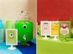 5 Tips For A Successful First Birthday Party - Monster's University.  The drink dispenser would be cute at a Halloween party too.