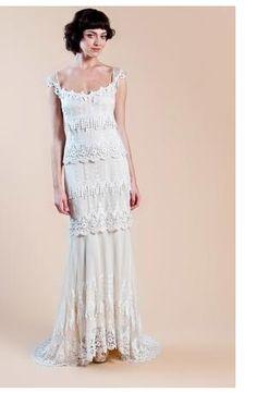 Claire Pettibone - Square Sheath Gown in Lace