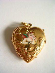 Top Rarität Biedermeier Anhänger Gold 585 Medaillon Ornamentik Email Schutzengel