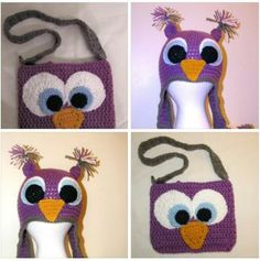 Owl crochet hat and owl purse by Olyasadorables for $25.00