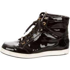 Pre-owned Jimmy Choo Patent Leather Sneakers (255 BGN) ❤ liked on Polyvore featuring shoes, sneakers, black, jimmy choo shoes, jimmy choo sneakers, black hi top sneakers, black shoes and black trainers