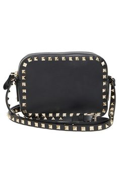 Valentino 'Rockstud' Calfskin Leather Camera Crossbody Bag