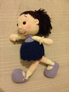 Amigurumi doll picture, no pattern.  Love the way she is in such a hurry.