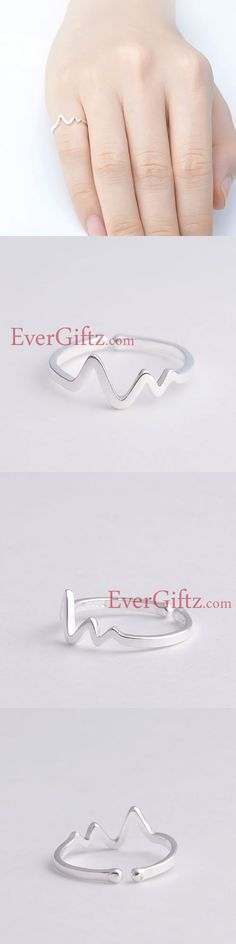 Unique! Silver Ring Heartbeat Rate Statement Ring Adjustable Ring
