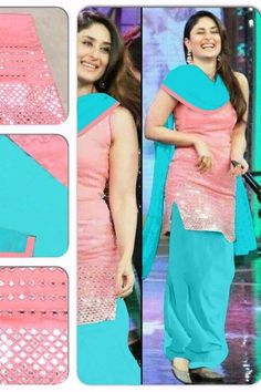 THANKAR PEACH EMBROIDERED COTTON SEMI-STITCHED STRAIGHT SUIT #bollywood #actress #kareena kapoor special #salwarsuits online