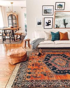 Warm Home Decor, Cheap Home Decor, Diy Home Decor, Coastal Decor, Living Room Orange, Boho Living Room, Bohemian Living, Living Room Rugs, Orange Room Decor