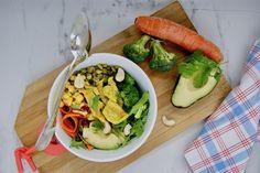 Poke bowl de veau au curcuma Menu, Poke Bowl, Fresh Rolls, Ethnic Recipes, Food, Snap Peas, Tagliatelle, Cilantro, Split Peas
