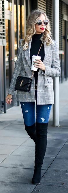 Outfit: Zara glen check Blazer, Turtleneck, denim, Overknee Boots, OTK Boots, Overknees, Over the knee boots, Gucci Belt, Saint Laurent bag, YSL Bag and Prada Sunnies. Fall Outfit, Herbst Outfit, Look, Style, Streetstyle, my favorite glen check pieces