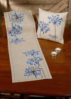 Permin Agapanthus Table Runner Cross Stitch Kit - x Discover more kits by Permin at LoveCrafts. From knitting & crochet yarn and patterns to embroidery & cross stitch supplies! Hand Work Embroidery, Hand Embroidery Patterns, Cross Stitch Embroidery, Cross Stitch Fabric, Cross Stitch Supplies, Cross Stitch Kits, Cross Stitch Patterns, Bargello Quilts, Paintbox Yarn