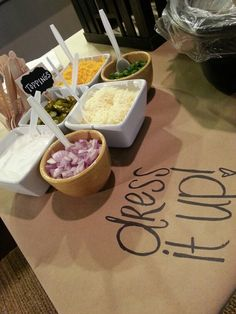 Chili bar- love the butcher paper idea! Blue and Gold Chili bar- love the butcher paper idea! Blue and Gold Chili Bar Party, Pasta Bar, Butcher Paper, Tapas, Slow Cooker Chili, Barbacoa, Party Set, Diy Party, Snacks