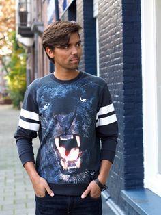 Fashionista Chloë Sterk - dailynonsense -  Model Maarten x Breaking Rocks Panter Trui. #breakingrocks #designerbrand #streetfashion #panter #zwartepanter #dierenprint #animalprint #alloverprint #streetlabel #puma