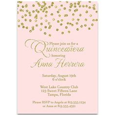 Invite guests to your birthday event with this glittering confetti invitation. PLEASE NOTE: This design has a printed metallic effect, but there is no actual metallic material used in creating this product. Sweet 15 Invitations, Gala Invitation, Wedding Invitation Cards, Party Invitations, Invitation Ideas, Glitter Birthday, Gold Birthday, 15th Birthday, 50th Wedding Anniversary Invitations