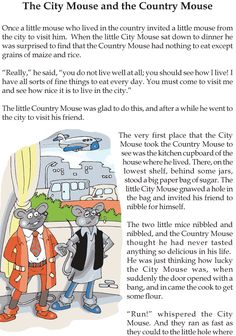 Grade 3 Reading Lesson 4 Short Stories – The City Mouse And The Country Mouse