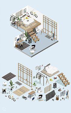 Isometric home office diagram - Architecture Design Ideas Interior Architecture Drawing, Interior Sketch, Architecture Design, Interior Design Drawing, Interior Design Renderings, Architecture Models, Interior Shop, Architecture Student, Classical Architecture