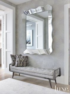 Modern wall mirrors for hallway foyer mirror ideas hallway mirror ideas modern gray foyer statement mirror Foyer Mirror, Entry Foyer, Entryway Decor, Wall Mirrors, Huge Mirror, Bathroom Mirrors, Wall Lamps, Wall Mirror Ideas, Big Mirrors