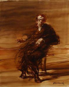 Claude WEISBUCH (né en 1927) Portrait d'homme assis. Huile sur toile. Signée en bas à droite. Deux enfoncements. 160 x 128 cm - Ader - 21/11/2012