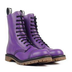 ADIX® bottes en cuir violet 10 oeillets en acier cap par AdixShoes