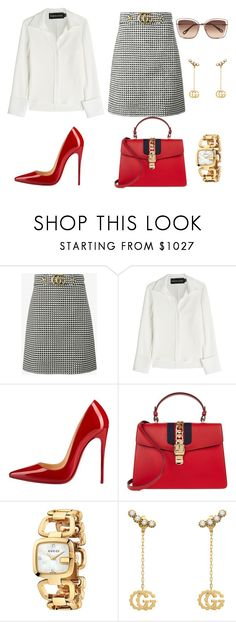 """Untitled #329"" by jovanaaxx on Polyvore featuring Gucci, Brandon Maxwell, Christian Louboutin and Chloé"