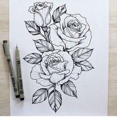 Resultado de imagen para flower rose sketch tattoo