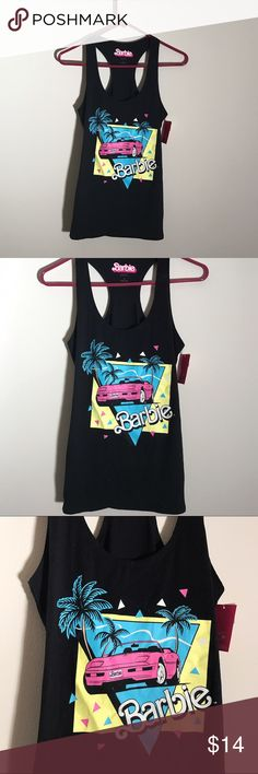 🆕 NWT Barbie black racerback tank 🎅🏼  NEW WITH TAGS! BARBIE BEAND RACERBACK BLACK TANK TOP • bend new, never been worn • colors are bright, has the right amount of stretch to it, fits comfortably ------ // bundle to save // accepting all reasonable offers // #barbie #mattell #racerback #tanktop  #cute #vintage  #retro #brandnew #nwt Tops Tank Tops