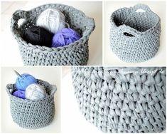 Knitting Patterns Bag The creative madness: Zpagetti utensil crochet Crochet Home, Crochet Baby, Free Crochet, Knit Basket, Basket Bag, Knitting Patterns, Crochet Patterns, Knitting For Beginners, Knitted Bags