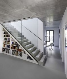Concrete stairs and built in storage