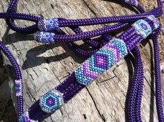 Beaded Rope Halter 4-5in. by HorsetailsbeadworkCo on Etsy
