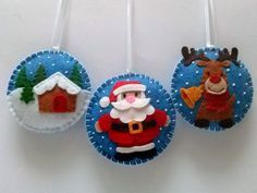 Felt christmas ornaments - set of 3 santa clause, brown reindeer, christmas village / wool blend felt/ blue background