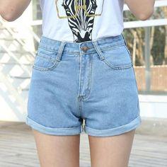 d0ee0330ece High Waist Denim Shorts Plus Size XS-4XL