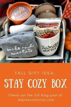 Stay Cozy Box with Vinyl Gifts Fall// Gift Idea// Cozy// Stay Cozy// Gift Box// Curated Gifts// Warm and Cozy// DIY// Expressions Diy Gifts For Christmas, Fall Gifts, Handmade Christmas, Christmas Ideas, Inexpensive Christmas Gifts, Christmas Gift Box, Halloween Gifts, Family Christmas, Christmas Traditions
