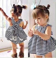 Buy Summer Hot sell baby girls Striped dress kids wear girls Princess dress kids clothing vestidos robe fille Infant at Mama - Thoughtful Shopping Outfits Niños, Newborn Outfits, Toddler Outfits, Summer Outfits, Fashion Outfits, Fashion Wear, Jean Outfits, Fashion 2017, Fashion Trends