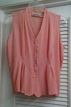 Christie & Jill Pink Sleeveless Blouse Top 100% Silk Coral Button Down Size 14