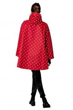 Cape de pluie femme rouge à pois