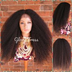 ON SALE// Big Kinky Curly Lace Front Wig, Curly Afro Wig, African American Wig, Soft Swiss Lace, Blown Out Hairstyle // NATURALLY Curly Afro Hair, Kinky Curly Wigs, Afro Wigs, Curly Lace Front Wigs, Straight Lace Front Wigs, African American Hairstyles, Afro Hairstyles, Textured Hair, Long Hair Styles