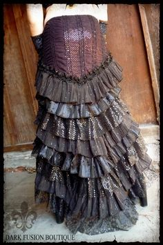 Ruffle Skirt Black and Plum Cabaret by darkfusionboutique on Etsy