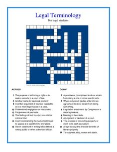 This free crossword puzzle consists of legal terms commonly used by legal professionals. The puzzle was designed for paralegals and prelaw students to b...