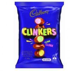 A bulk box of 12 packs of Cadbury Clinkers.