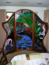 One Of A Kind ~ Dressing Screen ~ Antique Stained Glass ~ Artist: Stephen Hagen Stained Glass Lamp Shades, Dressing Screen, Art Gallery, Mirror, Antiques, Screens, Artist, Garden, Home Decor